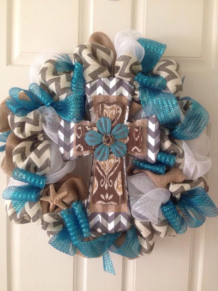 Beautiful Burlap And Deco Mesh Cross Wreath Cross Wreath