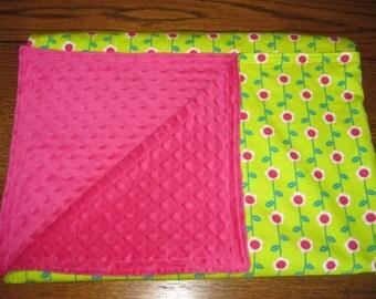 Big Sister Pink and Green Flower Cuddle  Blanket.