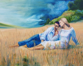 """Oil Picture Home decor Wall Art 16""""*24"""" Harmony Landscape Men Women Love Lovers Bedroom decor Streched on wooden frame READY TO HANG Art"""
