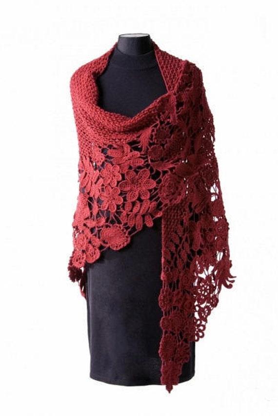 Irish Crochet Lace Shawl Pattern : Crochet shawl Irish lace by Martinesknite on Etsy