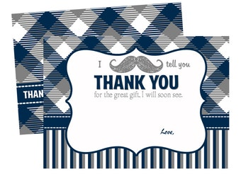 Baby Shower Mustache Thank You Card - Moustache Thanks - Little Man Invites Printed