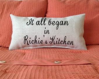 Engagement Pillow, Wedding Gift, Wedding Pillow, It All Began Pillow, Burlap Pillow