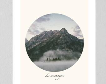 """Mountain """"des montagnes"""" print"""