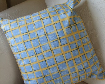 Bright colourful piped cotton cushion cover in blue with yellow check markings