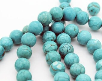 Lot of 50 pieces of chalk turquoise round 11 mm beads (50 pieces 23 inches long)