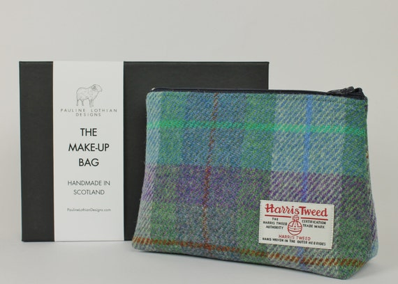 green and purple check harris tweed make up bag by. Black Bedroom Furniture Sets. Home Design Ideas