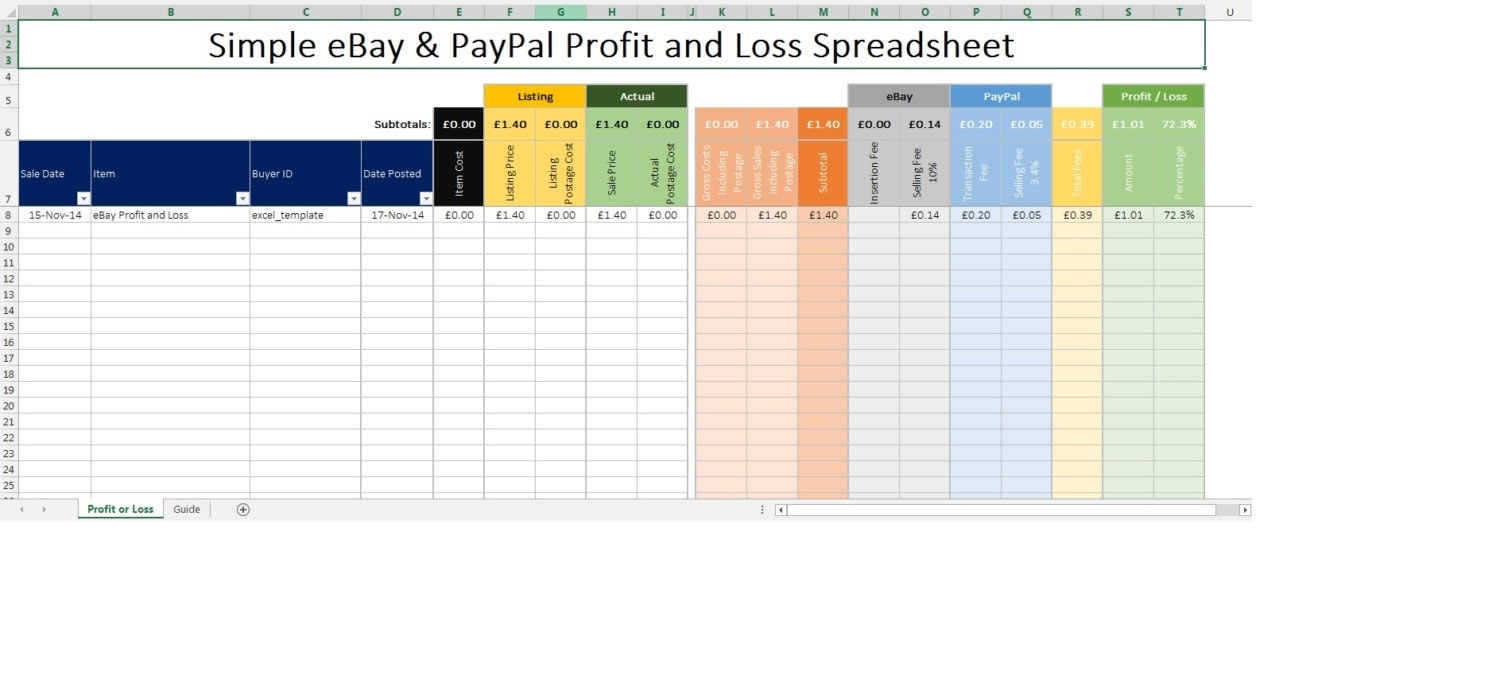 eBay and PayPal profit and Loss spreadsheet inc Fees Microsoft