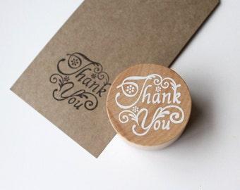 Thank You Stamp, Wooden Round Wedding Favours Stamp, DIY Note Crads