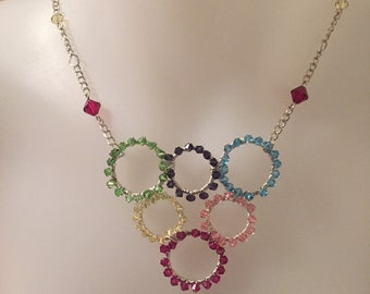 Crystal beaded wire wrapped necklace