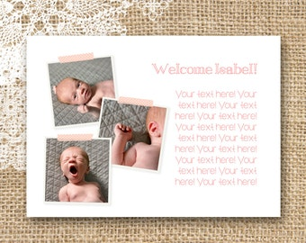 Custom Washi Tape Birth Announcement / 5x7 / Print at Home / Back Side Top Choice