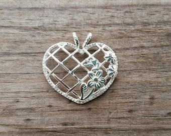 Sterling Silver Heart Pendant - Flower Heart Lattice Pendant - Sterling Silver Pendant -  Silver Heart Necklace