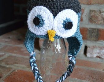 owl hat in baby, toddler, and child sizes