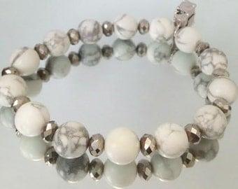Items Similar To Black White Marble Gemstone Beaded