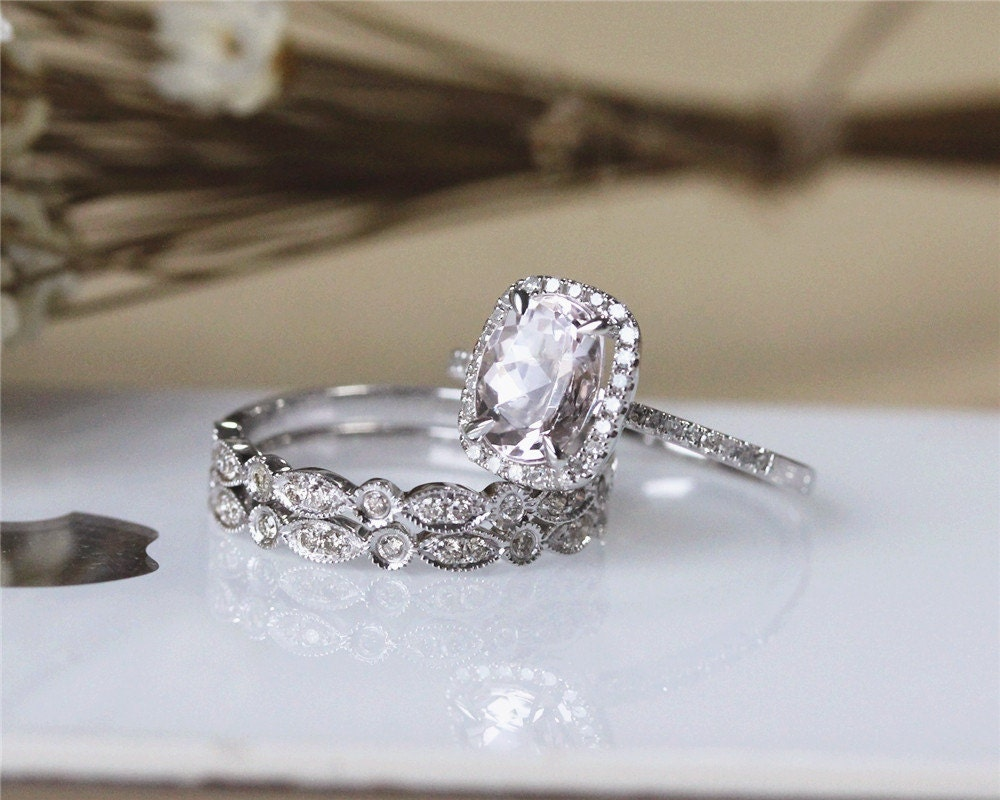 solid 14k white gold 6x8mm oval morganite ring by julianstudio