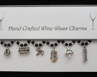 London Set of Wine Glass Charms