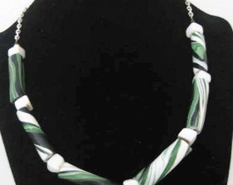 Green and Black Sprial Necklace