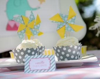 12 Pinwheel Cupcake Toppers - Pinwheel Party - Yellow and Teal Cupcake Toppers - Party Picks - Appetizer Picks