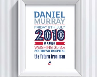 New Baby Boy Personalised Framed Print