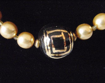 Handpainted and Pearl-like Beads for this Necklace and Earring Set