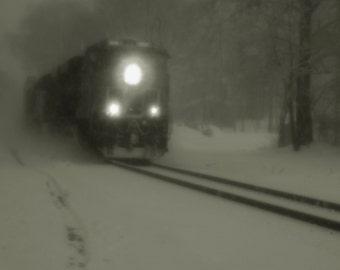 train, train photography, railroad art, winter landscape art print, snow, train tracks, railroad home decor, wall art