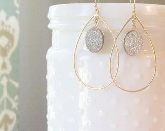 Gold Wire Teardrops + Silver Druzy Earrings | Druzy Teardrop Earrings Silver Druzy Earrings Teardrop Earrings Drusy Earrings
