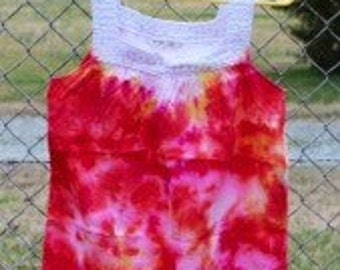 Hand Tie Dyed Firey Tank - S/M