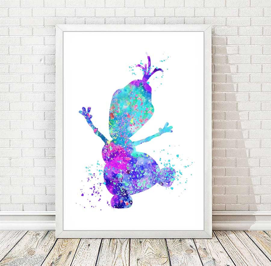 Olaf frozen print abstract watercolor disney art poster wall zoom amipublicfo Choice Image