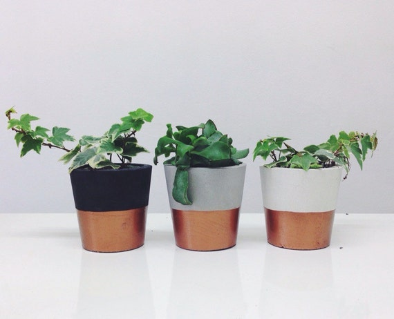 Copper dipped small cement pots / planters or candle by ...