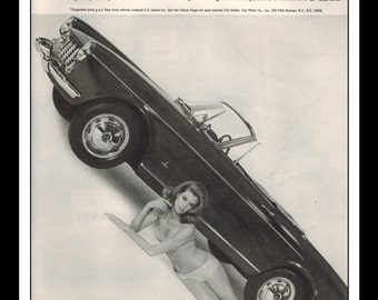 "Vintage Print Ad December 1965 : Fiat 1500 Spider Automobile Car Bikini Wall Art Decor 8.5"" x 11"" Print Advertisement"