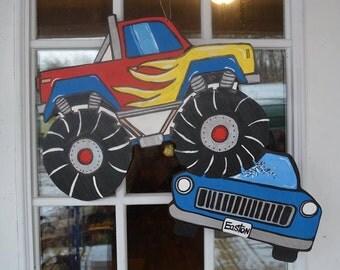 Monster Truck,Door Hanger,wooden door hanger,Custom Handmade Door Hanger,trendy door decor,wall decor,chalkboard,door decor,kids room decor