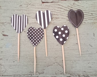 24 Black and White Polka Dot and Stripes Cupcake Toothpick Hearts.  Cupcake Decorations.  Heart Shaped Toothpicks. Cupcake Toppers