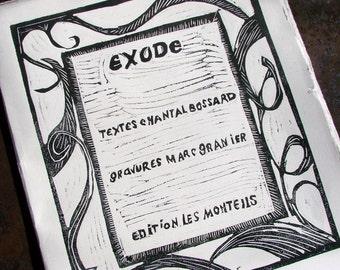 Livre d'artiste - Beau livre - Poésie du désert - Livre de poésie - Livre de l'exode, Livre de gravure - Edition limitée - Exode