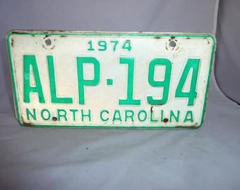 Vintage North Carolina 1974 License Plate