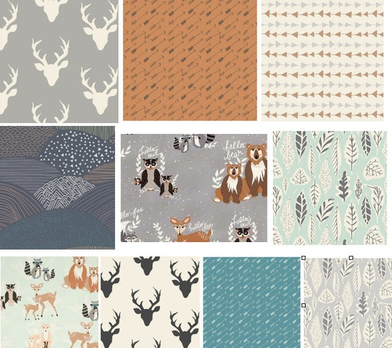 Modern rustic woodland nursery cotton fabric by for Nursery cotton fabric