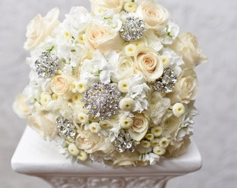 Gorgeous Floral Bouquet with Rhinestone Brooches