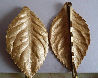 Set of 4 Gold Leaf Bobbypins