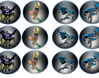 Batman and Robin Images ( 2.5 Inch ) Cupcake or Cookie Toppers