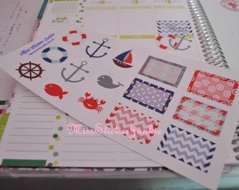 Nautical Planner Set Stickers for Erin Condren Life Planner Plum Paper Planner Calendar Anchor Stickers Sailboat Crab Fish