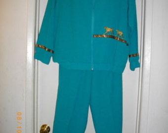 Southern Stitches Medium Turquoise Blue Pants Suit Top Jacket Trousers Slacks 2 Piece Set