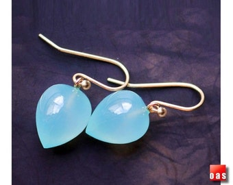 Solid Gold Chalcedony Earrings, 18K Chalcedony Earrings, 14K Chalcedony Earrings, Aqua Chalcedony, Bridal Earrings, Gold Leverback Earrings