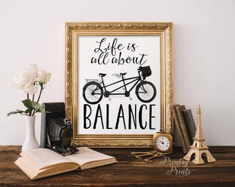 Bicycle Art Print Printable Wall art Print,Inspirational quote,poster,Bicycle print,calligraphy typography INSTANT DOWNLOAD