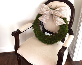 Spring Moss wreath, easter burlap wreath, burlap and lace wreath, Easter moss wreath, everyday wreath, wedding decor burlap lace wreath