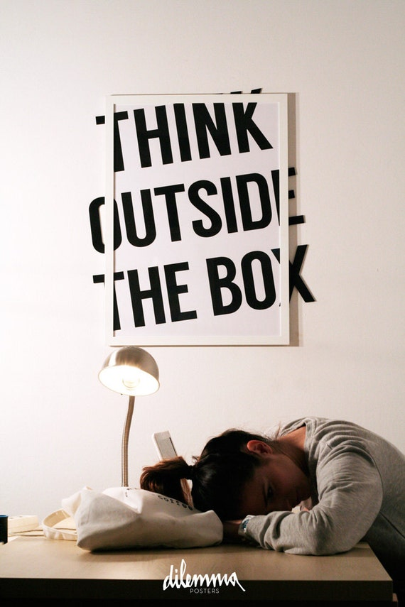 outside the box office. motivational minimalist print think outside the box inspirational quote classroom wall art decor typography black and white office r