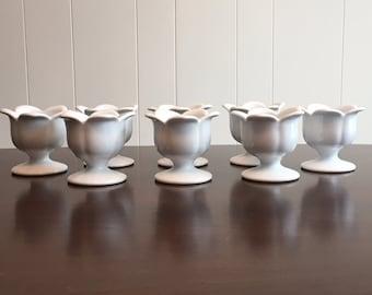 8 White Pedestal Dessert Cups