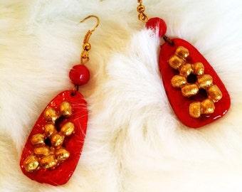 Red Earrings, Beaded Earrings, 3D Earrings, Gift Idea, Valentines Earrings, Gift for Her, Handmade Earrings, Handcrafted Earrings