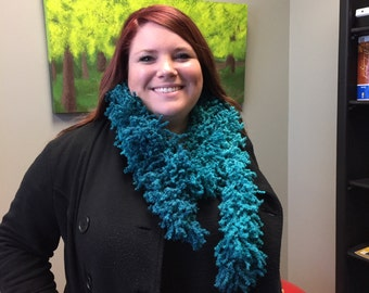 """Turquoise shag scarf 67"""" or 70"""""""