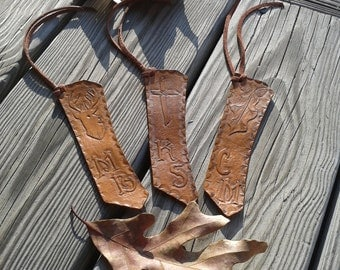 hand tooled leather bookmarks, customized just for you