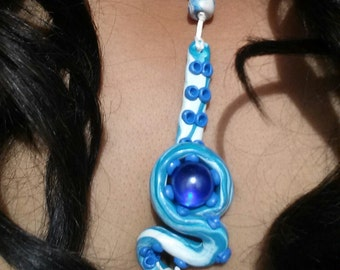 Blue and white tentacle necklace