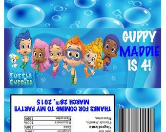 Bubble Guppies Candy Bar Wrappers Personalized Birthday Party Favor DIY