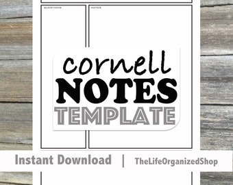 Cornell Notes Template / Student Notes / Note Taking / Cornell / High School Student / College Student / Notes / Printable / Instant